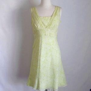 Ann Taylor Silk Sheer YellowGreen Sleeveless Dress